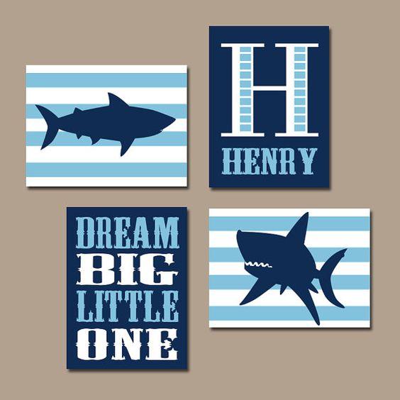 Arte de la pared del tiburón Baby Boy vivero arte por TRMdesign