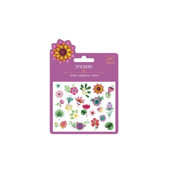 Trópusi virágok, Tropical flowers csillogó mini matrica szett 6 éves kortól - Djeco