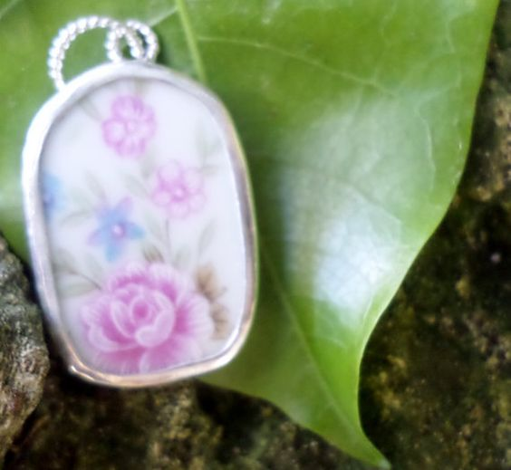 Broken China Pendant  Chaney Sterling Pink by MaroonedJewelry