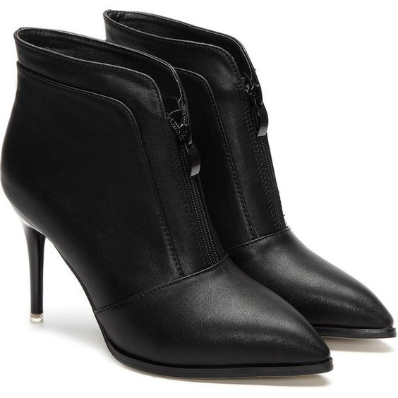 Yoins Black Zipper Front Design Stiletto Short Boots (75 BAM) ❤ liked on Polyvore featuring shoes, boots, ankle booties, yoins, stiletto ankle boots, pointed-toe ankle boots, black boots, high heel stilettos and black bootie