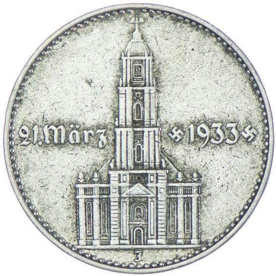 2 Reichsmark Garnisonskirche mit Datum 1934 J Drittes Reich Drittes Reich 1933 - 1945