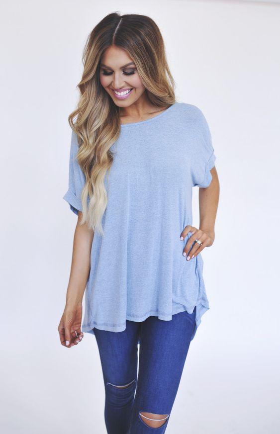 Soft Cuffed Sleeve Tunic - Light Blue https://www.pinterest.com/bentquse/pins/
