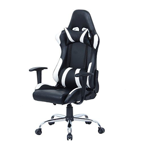 Black And White Adjustable Gaming Chair With Head Rest Pillow Game New High Back Leather Recliner Chooseandbuy Gaming Chair Headrest Chair