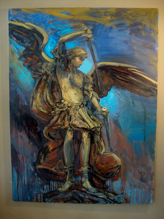 "Saint Michael Archangel , oil, 30x40"", 2010."