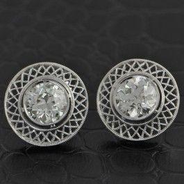 Elegant+Platinum+Basket+Weave+Bezel+Set+Diamond+Earrings+$11,199.00