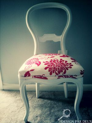 Beautiful chair that used to be brown and ugly mahagony fabric.
