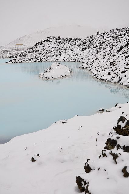 ✯ Blue Lagoon, Iceland.  I wasn't there when it snowed, but this is beautiful!