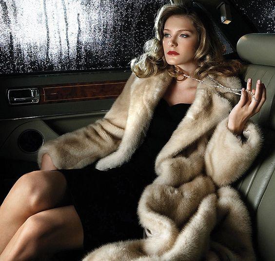 Glamorous blonde heading to the opera wearing her blond mink coat...