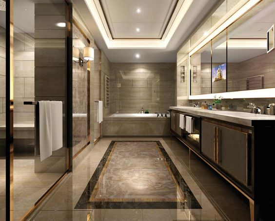 General look bathroom pinterest the rich tile and for Office building bathroom design