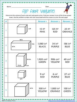Worksheets Volume Cubes Worksheet volume of cubes and rectangular prisms coloring activity activity