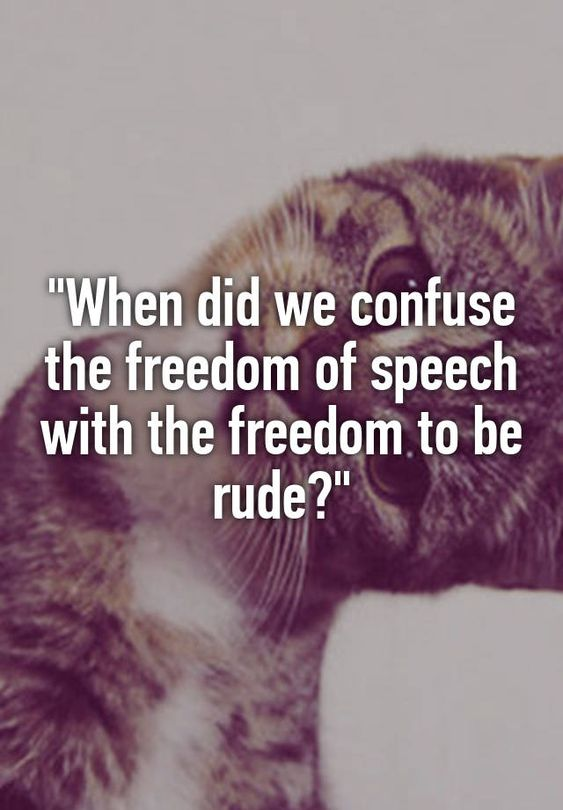 """""When did we confuse the freedom of speech with the freedom to be rude?"""":"