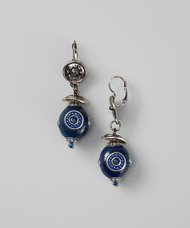 This Lapis & Silver Embellished Bead Drop Earrings is perfect! #zulilyfinds