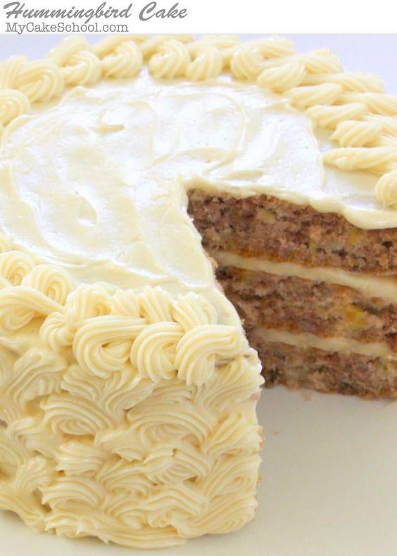 The most DELICIOUS scratch Hummingbird Cake Recipe! MyCakeSchool.com