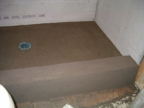 How To Build Shower Pan On Slab Floor Concrete Shower Concrete
