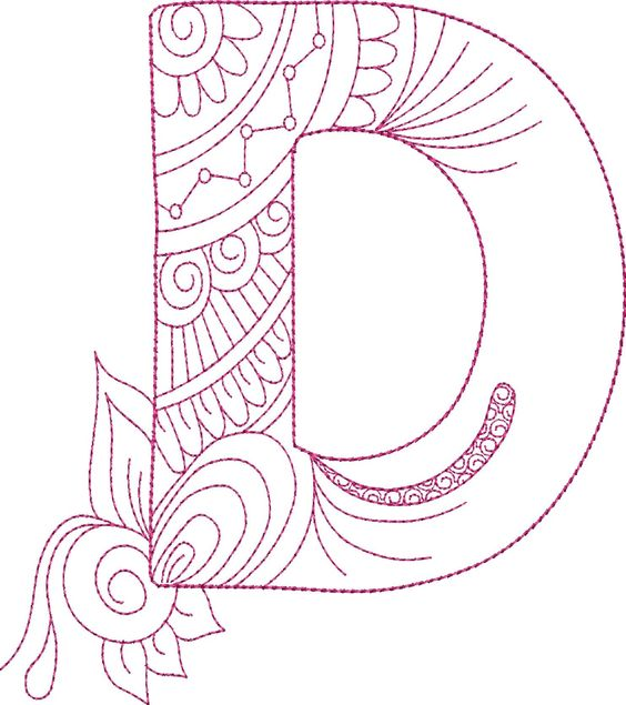 Zen Doodle Alphabet - Machine Embroidery Designs by Splinters & Threads