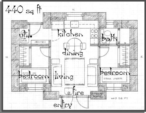 440 Square Foot Home Plan Looks Like 2 Single Beds