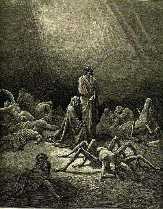 ~ Gustave Doré (1832-1883), Arachne, c. 1868, Illustration for Dante's Divine Comedy, Purgatory, Canto XII