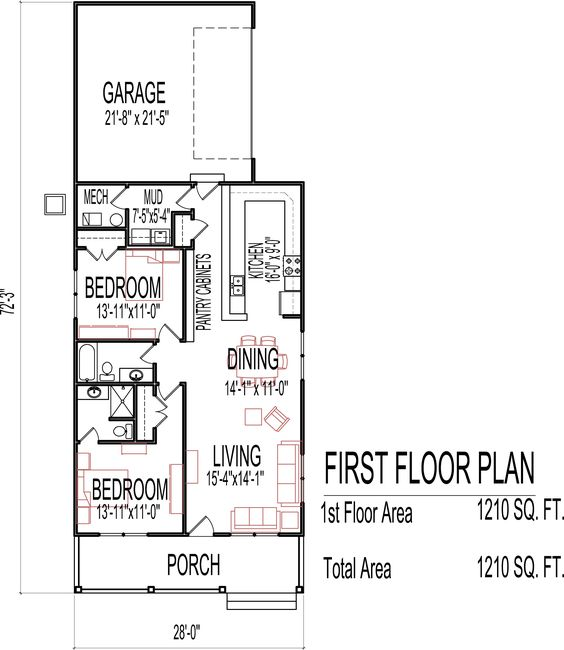 Small low cost economical 2 bedroom 2 bath 1200 sq ft for 1 story cottage floor plans