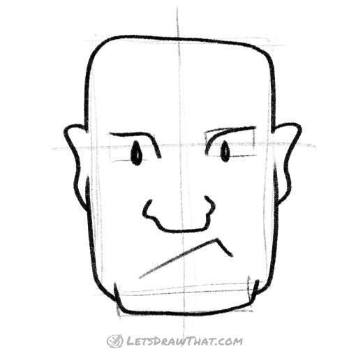 How To Draw A Simple Square Head For A Strong Man Completed Pencil Outline Let S Draw That Step By Step Drawing Drawings Draw
