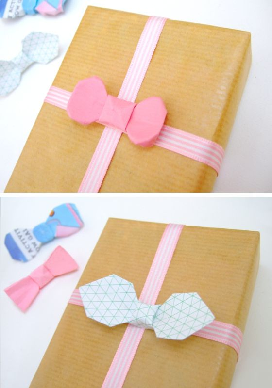 Simple paper bow ties for gift wrapping, etc.