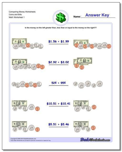 Money Worksheets For 3rd Grade Paring Money Money Worksheets, Money Math  Worksheets, Counting Money Worksheets