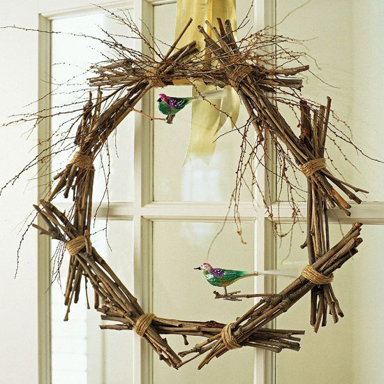 Twig Wreath with Birds: