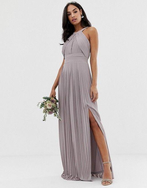Tfnc Tfnc Bridesmaid Exclusive Pleated Maxi Dress In Grey Asos Bridesmaid Dress Pleated Maxi Dress Short Bridesmaid Dresses
