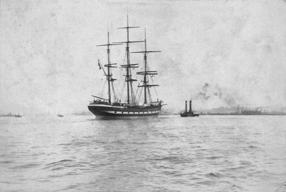 An unknown sailing ship under tow on the Thames