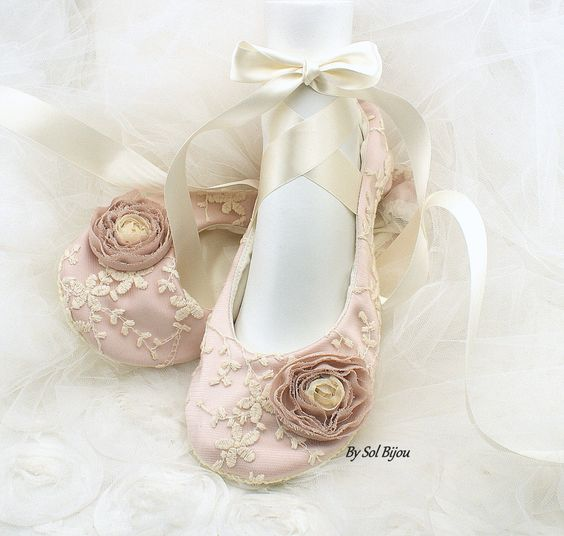 Wedding Ballet Flats, Rose, Pink, Blush, Ivory, Shoes, Pink Flats, Lace Flats, Flower Girl Flats, Ballet Slippers, Elegant, Vintage Wedding by SolBijou on Etsy https://www.etsy.com/listing/254686687/wedding-ballet-flats-rose-pink-blush