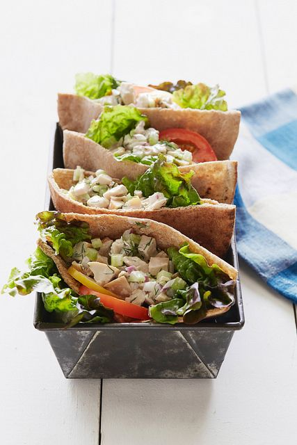 Lemony Chicken Salad Pita recipe form The Daniel Plan cookbook. Stuff into pitas, whole hollowed out tomatoes, spoon into lettuce cups or onto English muffins. The dill and lemon make it refreshing.