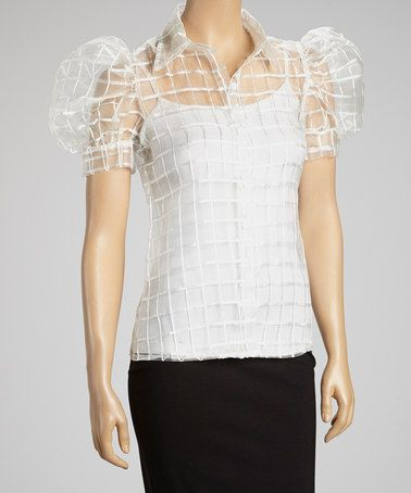 Take a look at this White Sheer Button-Up Top by Miss Finch on #zulily today!