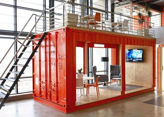 inhouse brand architects converted a shipping container into a waiting room for cape town advertising firm the design team divvied up the open plan office advertising agency office szukaj