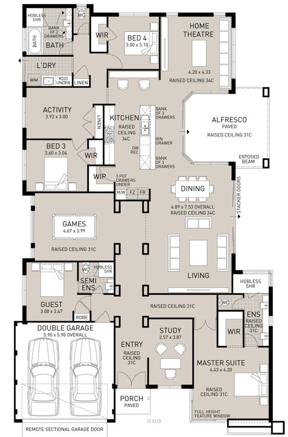 Large 4 bedroom home with home office theatre room for Home theater floor plan