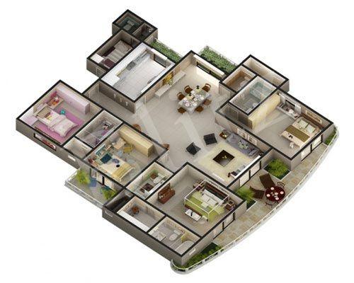 Floor plans 3d and floors on pinterest for 3d floor plan rendering