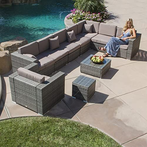 Buy Belleze Outdoor Patio Furniture Aluminum 10 Piece Sectional Sofa Set Cushions Table Gray Online Toplikestore In 2020 Outdoor Sofa Sets Outdoor Patio Furniture Conversation Set Patio