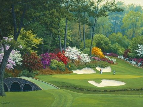 Augusta On The 12th Hole By Charles White Golf Courses Augusta National Golf Club White Canvas Art