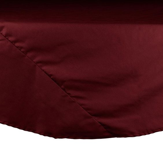 "72"" Burgundy Round Hemmed Polyspun Tablecloth"