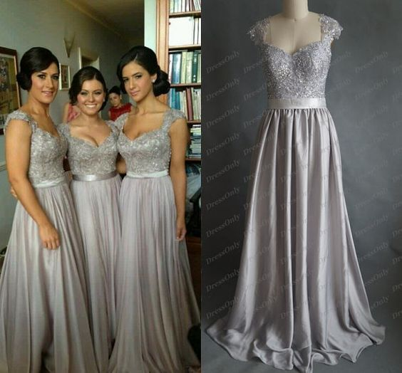 Grey Gowns Wedding: New Silver Grey Bridesmaid Dress Scoop Lace Prom Dresses A