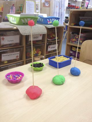thread differentiated objects on to a skewer #abcdoes #eyfs finemotorskills
