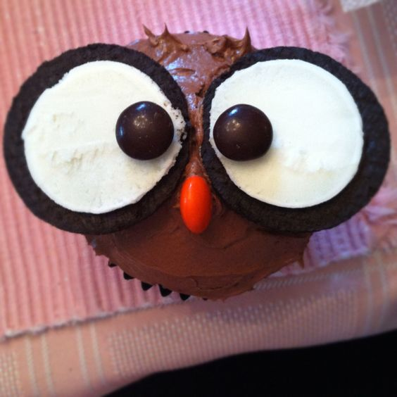 Owl cupcakes! Really easy to make with Oreos and M's! Got the idea on Pinterest!