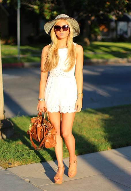 chic California style, even hair all around, white lace romper