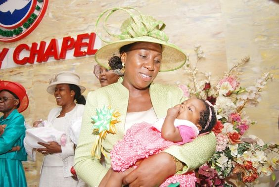 Nigerians always dedicate their babies in church after when they are 4 months old.