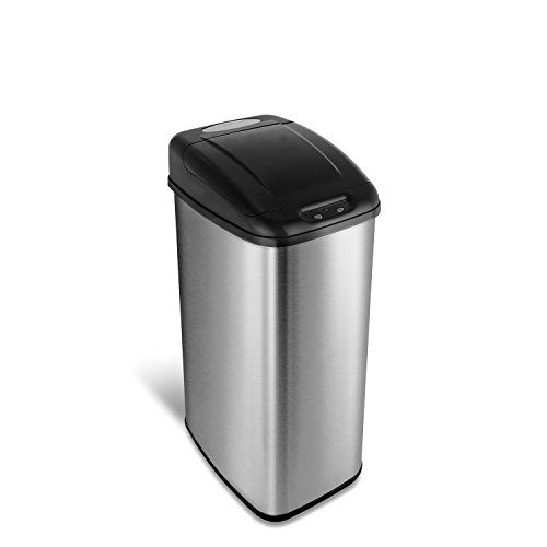 Ninestars Dzt 50 6 Automatic Touchless Infrared Motion Sensor Trash Can 13 Gal 50l Stainless Steel Base Kitchen Trash Cans Trash Can Trash And Recycling Bin