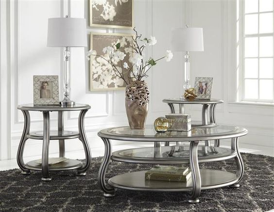 Coralayne Silver Metal Glass 3Pc Rectangle Round Coffee Table Set