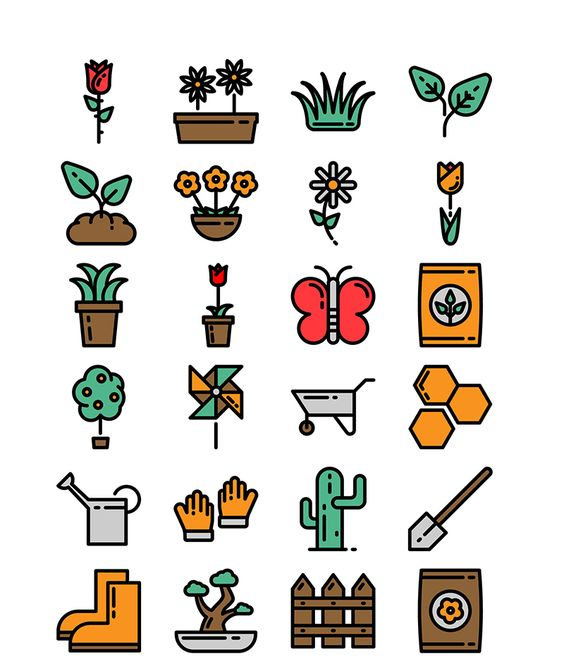Free Vector Gardening Icons Icons Flat Free Gardening Graphic Design Icon Outline PNG Resource SVG Vector
