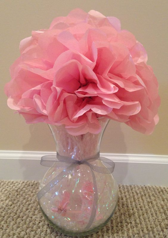 Girl baby shower centerpiece using a vase small plastic
