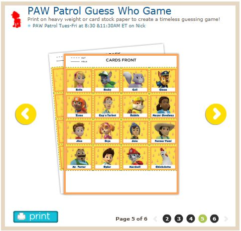 Guess who game 6 pages http www nickjr com printables paw patrol