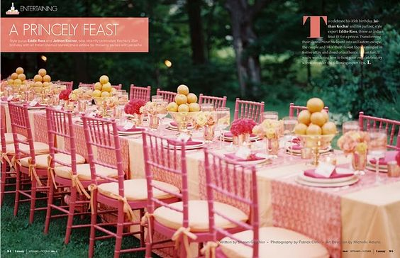 pink and orange table setting Lonny Sep-Oct