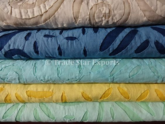 Set of 5 Handmade Applique Cutwork Bedspread.Beautiful Patterns with Warm Colors & Very Fine Cutwork on Organza Base.    Please Note : All