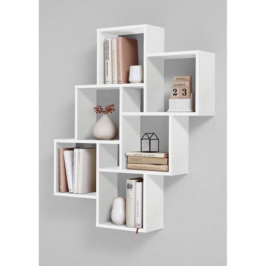 Rutland Wooden Wall Mounted Shelving Unit In White Furniture In Fashion Wall Shelves Design Cube Shelves Living Room Shelves
